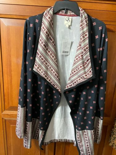 anthropologie Black Open Cardigan With Designs SzL