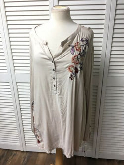 Sonoma Women's Size 3X Long Sleeve Dress W/ Embroidered Flowers NWT