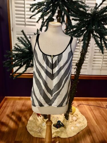 Express Women's Size Medium Tank Top Zebra Stripe Front With Zipper