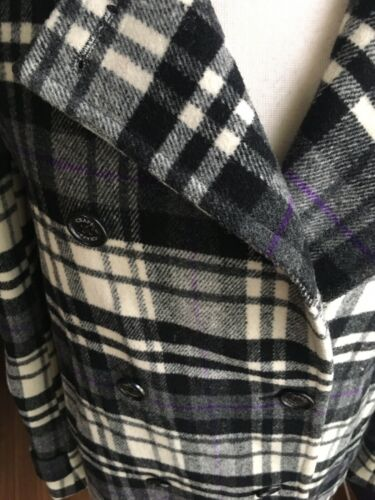 Chaps Women's Size Medium Plaid Peacoat W/ Buttons And Pockets