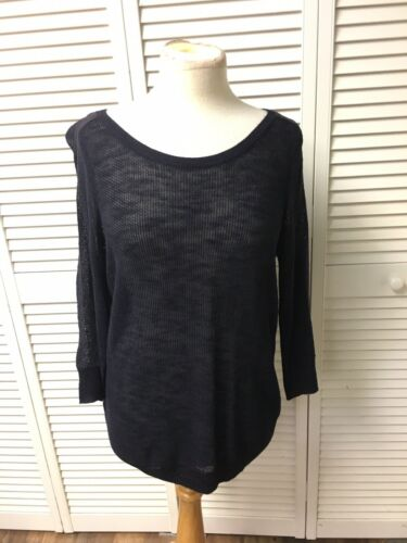 Ann Taylor Women's Size Large Navy Blue Knit Top Long Sleeve Sweater NWT
