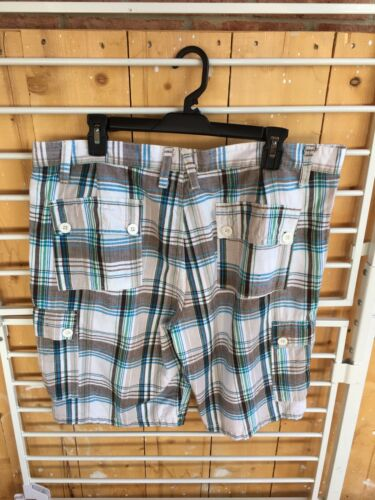 Paper Denim & Cloth Mens Size 36 Plaid Shorts Blue/Green Button Closure Pockets