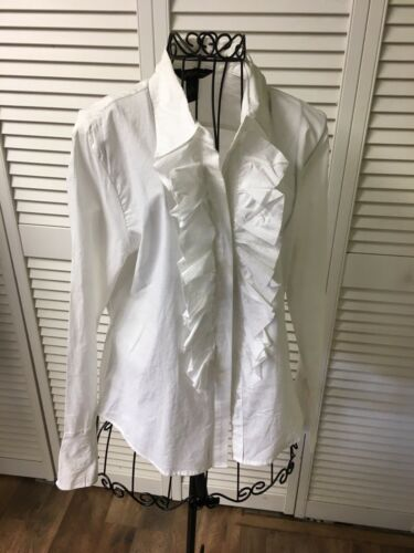 Milano Women's Size Medium White Blouse Ruffled Button Down Long Sleeves NWT