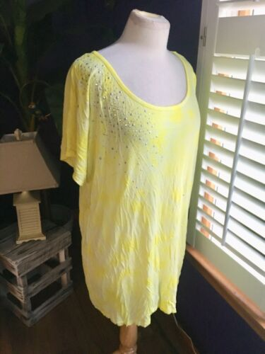 International Concepts Women's Size 2X Yellow Short Sleeve T-shirt W/ Gemstones