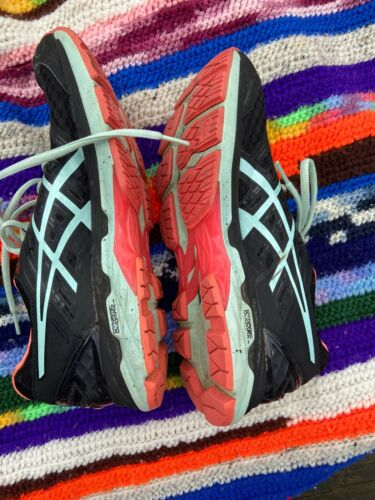 womens asics size 9 Black Blue Neon Orange Running Shoes T757N