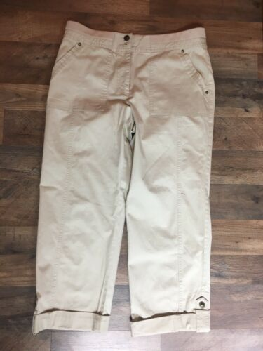 Ruby Rd Women's Size 10 Beige Khaki Pants W/ Cuffed Capri Button With Pockets