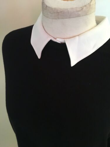 Marled Women's Size Large Black Sweater W/ White Collar Zipper In Back
