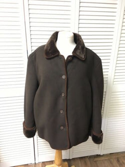 "Coaco New York Women's Jacket Brown W/ Buttons And Pockets Very Soft 51"" Chest"