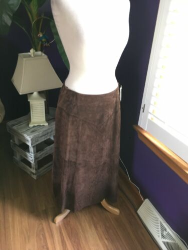 Coldwater Creek Women's Size PM Leather Skirt Floor Length W/ Beads NWT