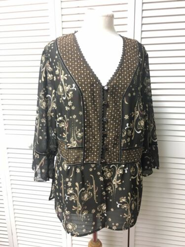 NEW Emma James Women's Size 16 Brown Shear Blouse Long Sleeves Buttons NWT