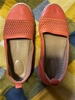Clarks Artisan Womens Leather Helen Orang Flat Slip On Shoes Sz 6.5