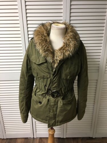 Akualani Women's Size Small Green Coat With Faux Fur Around Neck, Pockets, Belt