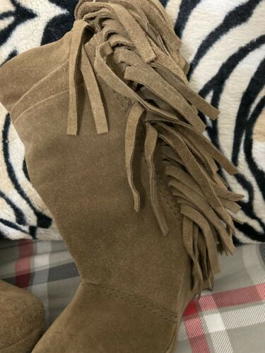 Womens Masstie Brown Suede Fringe Boots Sz 5.5