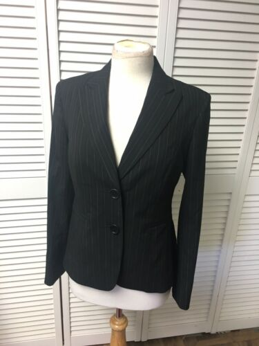 Jones New York Women's Size 4 Black Blazer Jacket W/ Brown And Beige Pinstripes