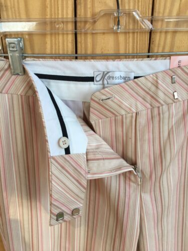 Dress Barn Women's Size 10 Pink/Beige Pin Stripe Capri Pants Stretch NWT