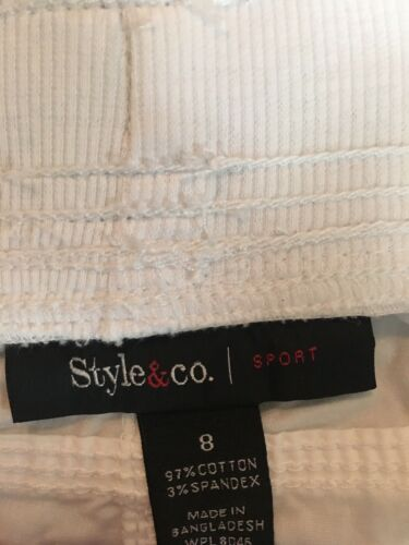 Style & Co Women's Size 8 White Shorts Sport With Pockets And Drawstring Waist