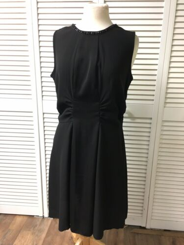SLNY Women's Size 12 Black Sleeveless Dress W/ Beaded Neck Line, Zipper In Back