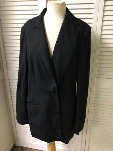 Lands End Womens Size 14 Tall Black Blazer Jacket With Button Closure