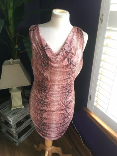 Boston Proper Women's Sz M Pink Snakeskin Pattern Body Con Dress Pleated Sides