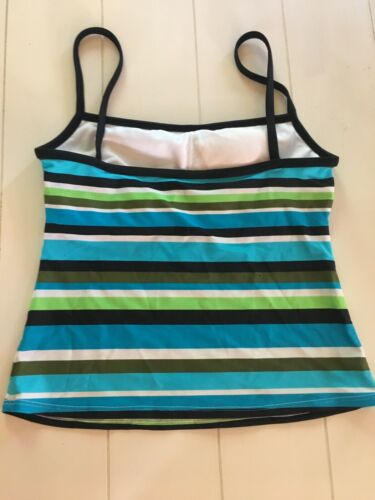 a.n.a. Women's Size 8 Swimsuit Tankiki Top Blue Green Stripes Padded