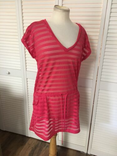 Calvin Klein Women's Size Medium Pink Cover Up Dress Mesh W/ Pockets, Tie Waist