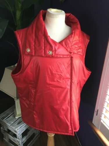Calvin Klein Women's Size 1X Red Puffy Vest Button Down Front W/ Pockets