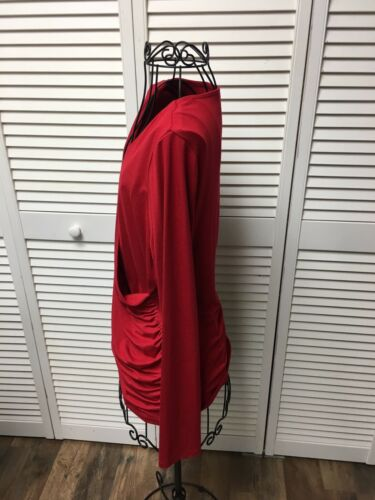 Talbots Women's Size Medium Red Long Sleeve Blouse V-Neck Pleated Sides NWT