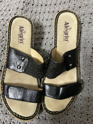 Womens Alegria Black Leather Double Molded Comfort Sandals Sz 40
