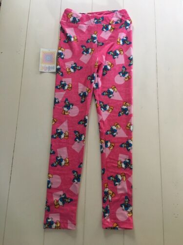 "LuLaRoe Girls Leggings Kids Size L/XL Soft Pink Disney Donald Duck 18"" Waist"
