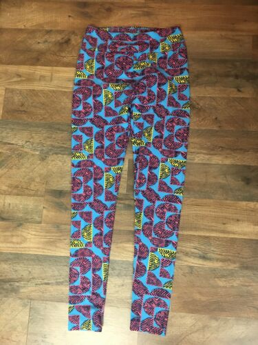 LuLaRoe Girls Soft Leggings One Size Blue With Pink And Yellow Design