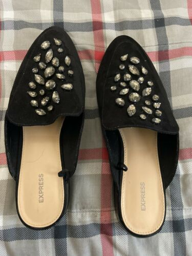 Womens Express Black Jeweled Mules Flats Clogs Shoes Sz 8.5