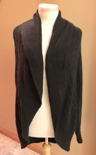 Chaps Women's Size Large Black Shaw Cardigan Sweater Open Front Long Sleeves