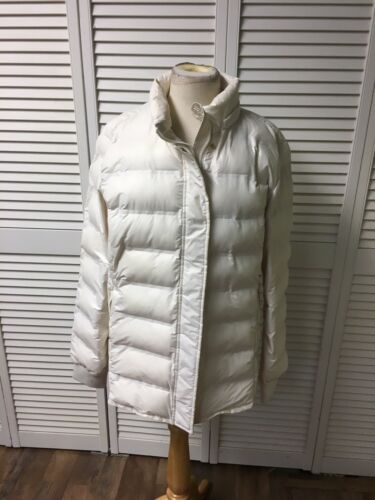 Gap Women's Size XL White Puffy Coat Zipper And Snap Buttons, Zipper Pockets