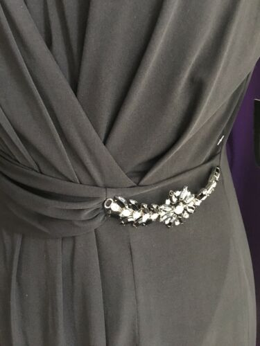 Ellen Tracy Women's Sz 10 Black Floor Length Dress W/ Slit Gemstones Broach NWT
