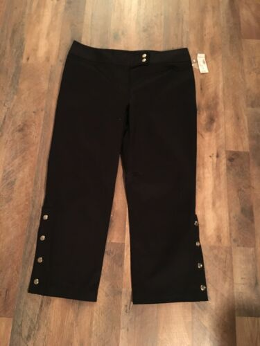 Dress Barn Women's Size 12 Black Capri Pants W/ Buttons At Ankles NWT
