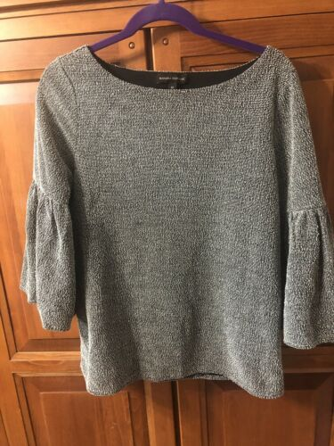 Banana Republic Bounce Boat Neck Bell Sleeve Knit Top 3/4 Sleeve Sz M