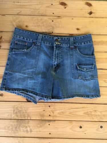 "Faded Glory Missy Size 16 Jean Shorts Stretch Blue Denim 36"" Waist Multipockets"