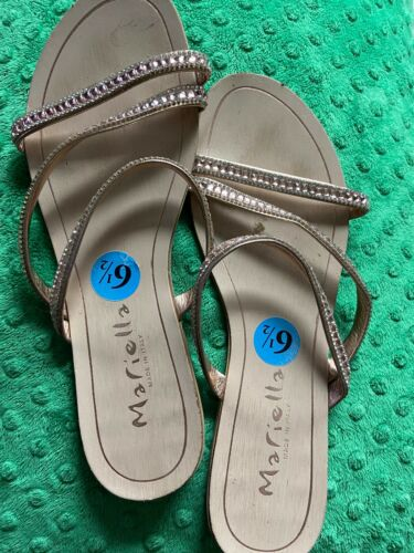 Mariella Womens Sz 6.5 Copper Bronze Rhinestone Bling Toe Loop Sandals