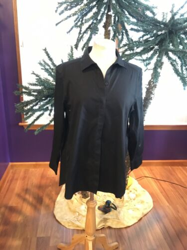 Chico's 2 Women's Black Long Sleeve Button Down Blouse