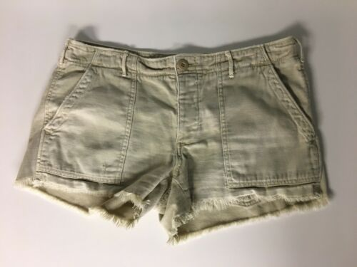 American Eagle Juniors Size 6 Beige Shorts W/ Pockets, Fringe Around Bottom