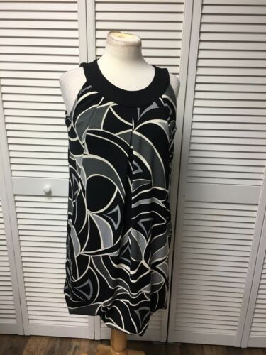 Dress Barn Women's Size 10 Sleeveless Dress Black And Grey Pattern With Pockets