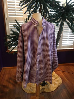 Tommy Hilfiger Big Size 19 34/35 Men's Purple Check Button Down Dress Shirt