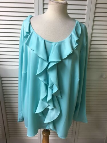 The Limited Women's Sz 2X Teal Aruba Blue Long Sleeve Blouse With Ruffles NWT