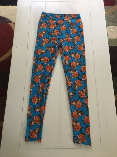 "LuLaRoe Soft Leggings Girls One Size 22"" Waist Soft Stretchy Pumpkin Pattern"