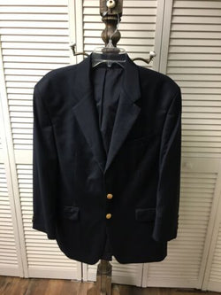 "Ralph Lauren Mens 44"" Chest, Navy Blue Suit Jacket Long Sleeves With Buttons"