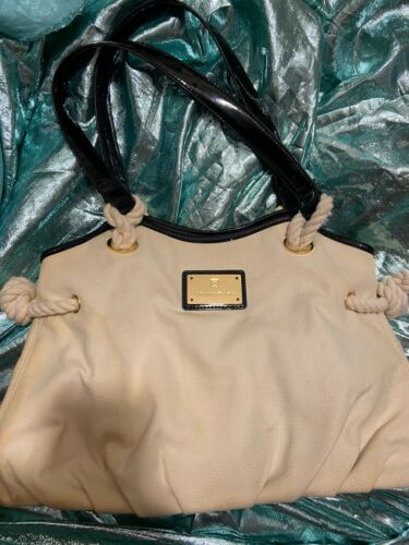 Womens Trina Turk Ivory Black Canvas Purse Hand Bag