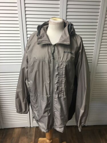 Columbia Mens Size XL Beige Windbreaker Jacket Zip Up Front W/ Hood And Pockets