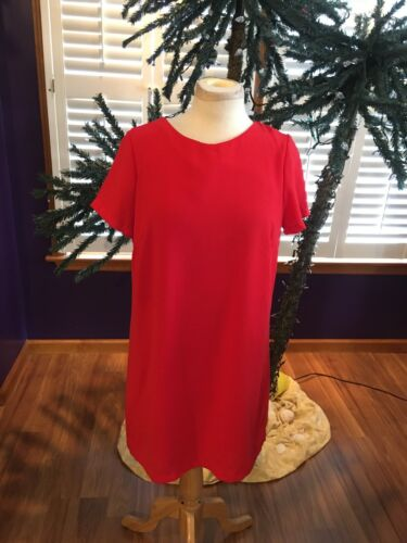 Lulu's Women's Size Large Red Dress Knee Length Short Sleeves Zipper In Back
