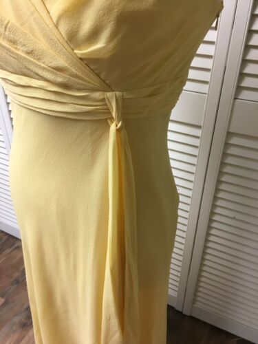 Ann Klein Women's Size 8 Yellow Dress Sleeveless V-Neck Flowy Bottom Side Zipper