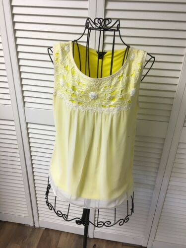 Ann Taylor Women's Size XS Sleeveless Blouse Yellow W/ White Sheer/Lace Cover